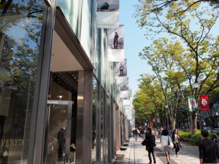 Along Omotesando Hills show windows.